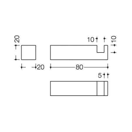 hewi system 100 einzelhaken 80 mm chrom wandhaken. Black Bedroom Furniture Sets. Home Design Ideas
