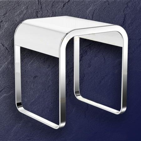 HEWI System 800 Badhocker 800.51.30041 Chrom/ Weiss 400 x 400 x 46 mm | {Badhocker weiß 18}