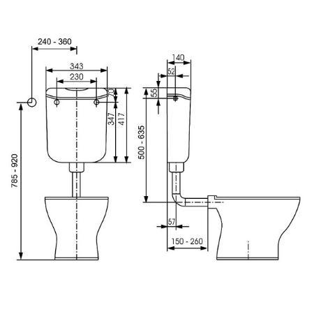 toto pagette ecolux aufputz sp lkasten weiss 6 liter sp l stopp 795010102. Black Bedroom Furniture Sets. Home Design Ideas