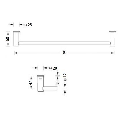 phos badetuchhalter hs20 55e 1000 mm edelstahl 100 cm mit endhalter. Black Bedroom Furniture Sets. Home Design Ideas